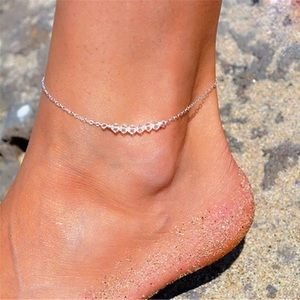 Silver Chain Crystal Beads Anklet